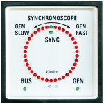 The Electronic Synchroscope is designed to provide an illuminated indication of actual phase difference between the BUS Voltage (reference voltage) & the GENERATOR Voltage (incoming voltage). 