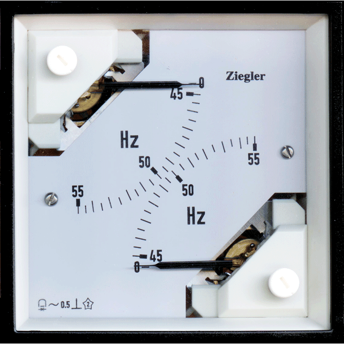 2 in 1 pointer type analogue panel meter come in 96 mm × 96 mm size. These measure frequency depending upon the application. These combine two measuring systems independent of each other. 