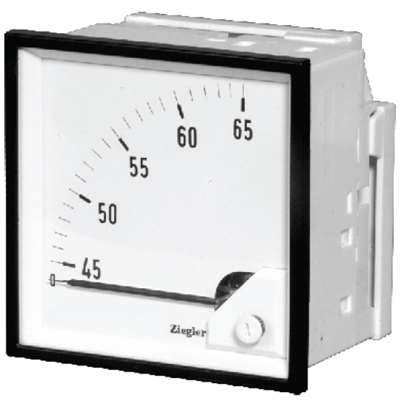"In these meters, the maximum deviation of pointer is 90 degrees, that for each 90 degrees, the analog meter displays the maximum amount of measurement quantities. When the analog meters are in ""zero center"" mode, the quantity of final deviation is 45 degrees and in two directions."
