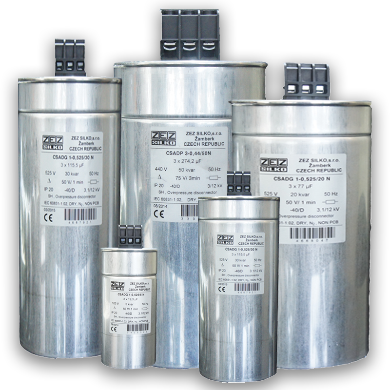 Dry Cylindrical Capacitor ZEZ Silko for power factor correction are used in power  three-phase Networks 525 V, 50 Hz and Capacity of 0.5 to 50 Kvar.Voltage and capacity of this capacitor can be ordered according to need .
