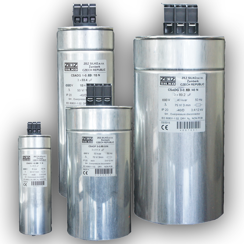 Dry Cylindrical Capacitor ZEZ Silko for power factor correction are used in power  three-phase Networks 690 V, 50 Hz and Capacity of  5 to 50 Kvar.Voltage and capacity of this capacitor can be ordered according to need .