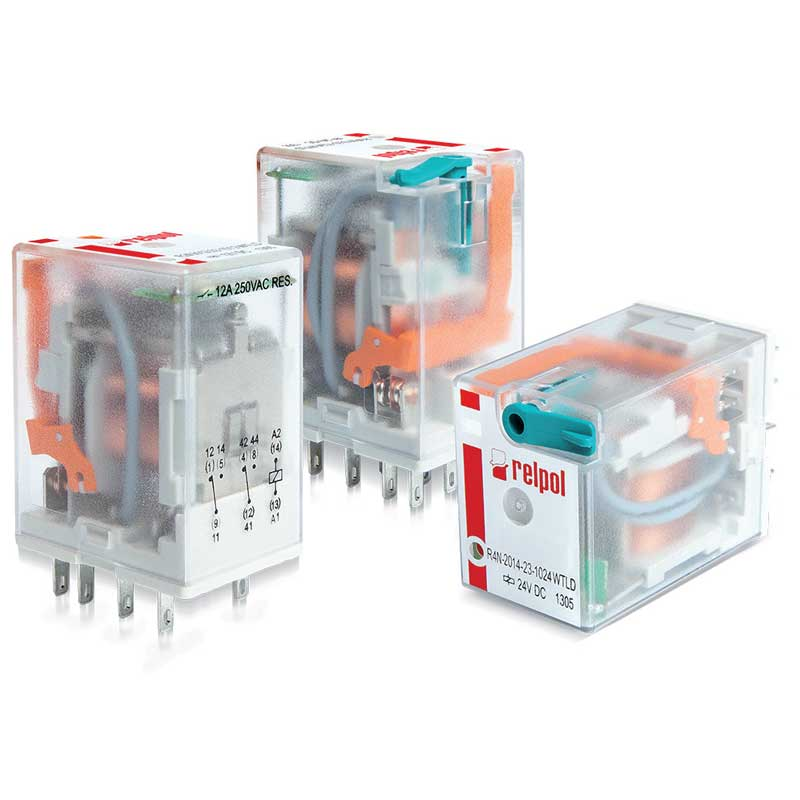 R4N Four contacts relay،  Relays of general application . For plug-in sockets : 35mm rail mount , on panel mounting , PCB mounting . with miniature dimensions and AC/DC coils .