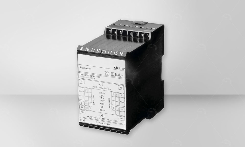 Power Factor / Phase Angle Transducers are used for measuring the phase angle between current & voltage of a single or three phase balanced network . 