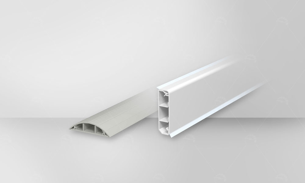 OBO skirting trunking used for horizontal crossing wires, power and network cables, UPS and phone cable on wall Baseboard. also contain floor trunking for crossing cables from floor of rooms.