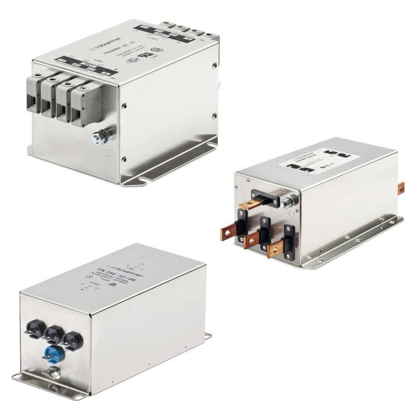 Three Phase Filter with Neutral line as a part of Schaffner company products designed for four wire systems.