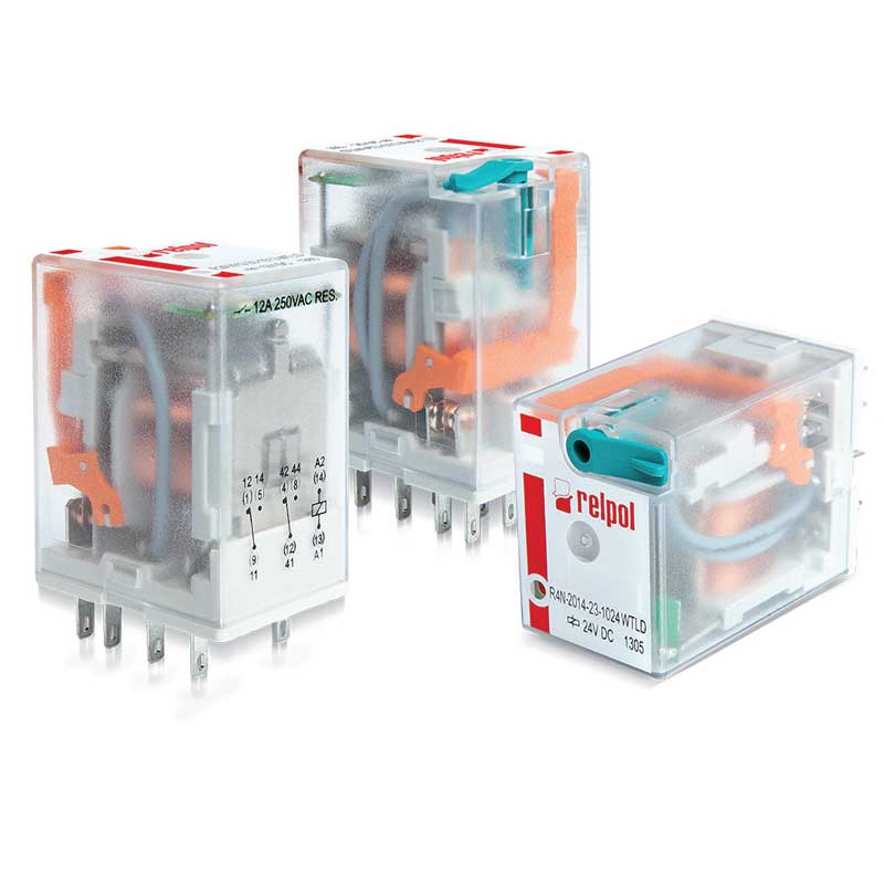 R3N Three contacts relay،  Relays of general application . For plug-in sockets : 35mm rail mount , on panel mounting , PCB mounting . with miniature dimensions and AC/DC coils .