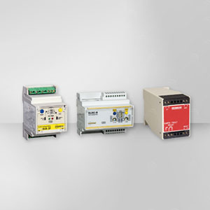 DIN rail mounted earth fault relay