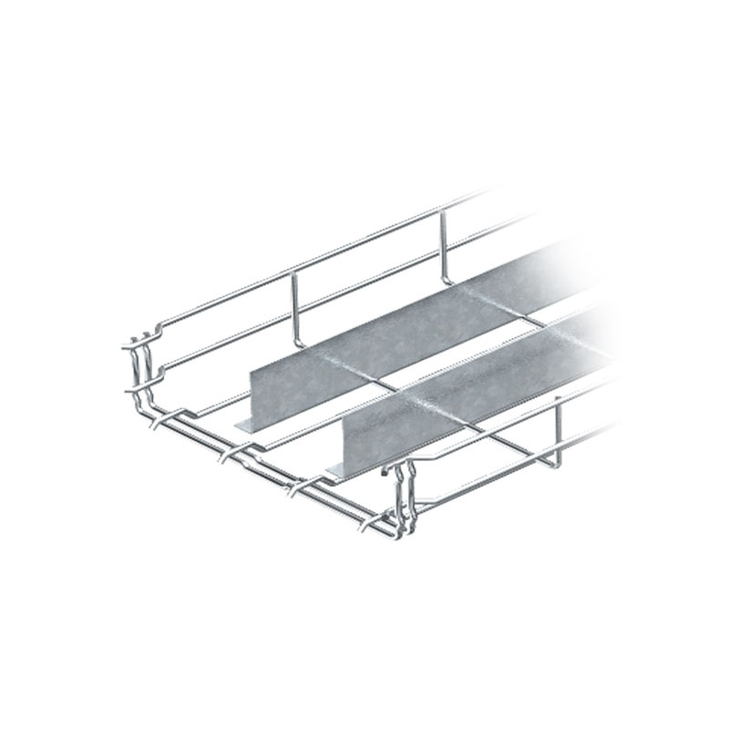 Mesh cable tray with two barrier strip