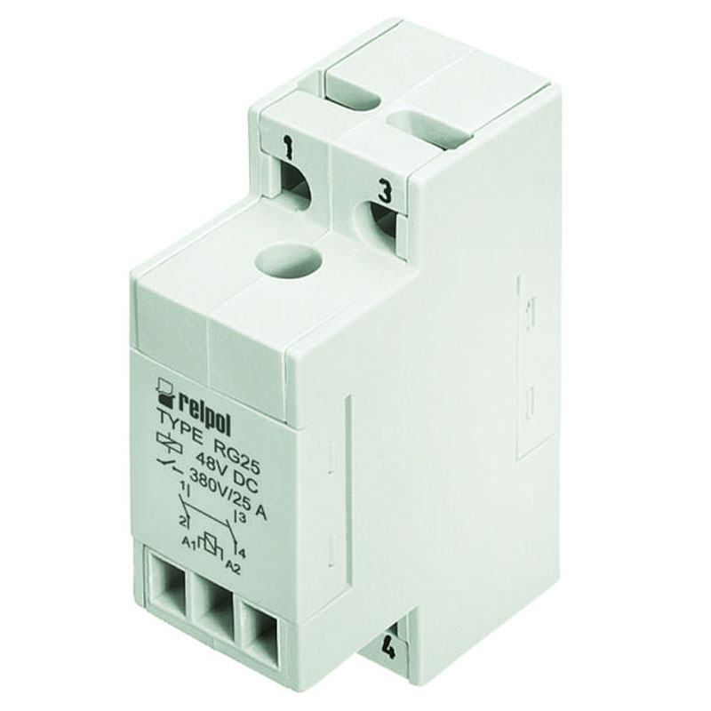 Relays of general application, RG25 relay . For plug-in sockets : 35mm rail mount . with miniature dimensions , 2-NO and AC/DC coils . Applications : control of electromagnets , systems of heating ,  cooling , ventillation , air conditioning , control with single-phase and three-phase motors , catering industry machines and equipment , automation systems  , photoelectric systems , etc .