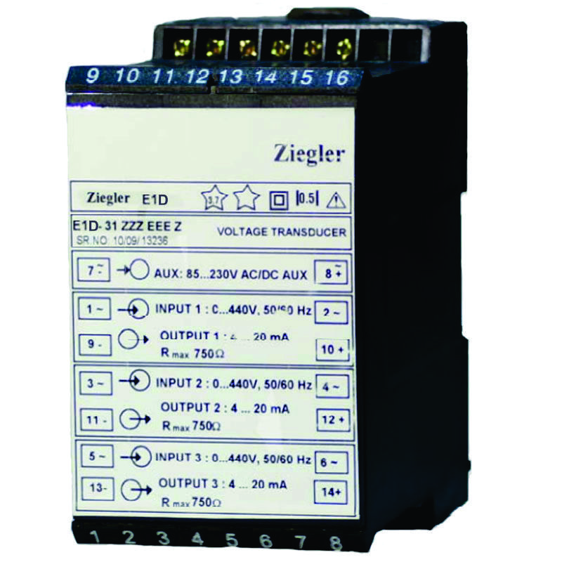 Ziegler E1D Three channel AC Voltage and Current Transducer and Transmitter