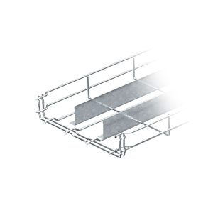 Mesh cable tray with barrier strip